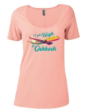Ladies CVC Short Sleeve Scoop Neck Tee I Got High In Oshkosh P504C