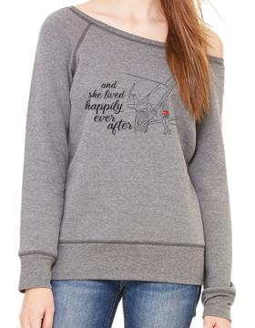Ladies Sponge Fleece Wide Neck Sweatshirt Happily Ever After 7501