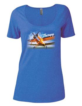 Ladies CVC Short Sleeve Scoop Neck Tee Therapy & Biplane P504C
