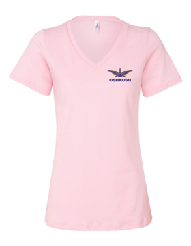 Ladies Relaxed Jersey Short Sleeve V-Neck T-Shirt Wings & Propeller 6405