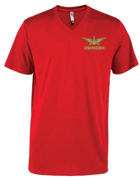 Men's CVC Short Sleeve V-Neck Tee Wings & Propeller P602C
