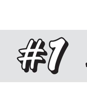 in#1in White Letters, Clear EyeBlack (Sheet) EB-C1081