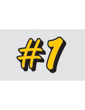 in#1in Yellow Letters, Clear EyeBlack (Sheet) EB-C1082