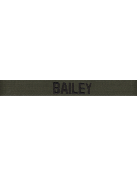 Army Name Tape Green (Black on OD) Embroidered, EMB-101