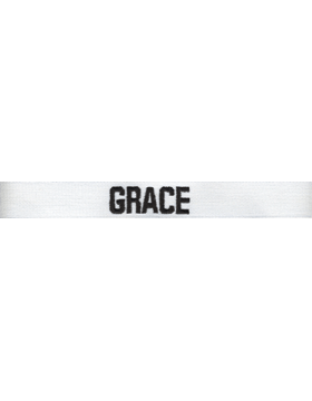 EMB-113A, White Name Tape w/ Black Embroidery