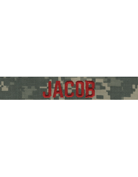 ACU Name Tape with Fastener and Red Embroidery
