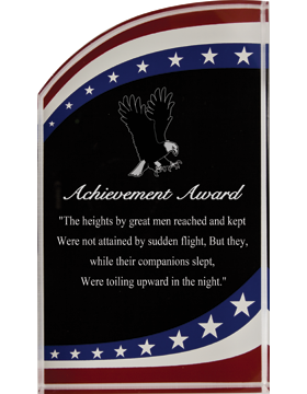Stars & Stripes Acrylic Plaque, 3.5inx6in Laser Engraved