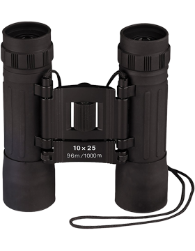 Black Compact 10 X 25MM Binoculars w/Case 10285