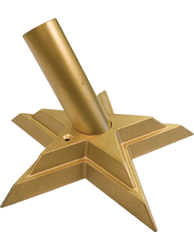Flag Wall Mount Cast Aluminum Gold Star 1 1/4in ID