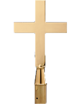 9.25in Plain Church Cross Solid Brass Polish & Lacquer small