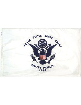 F-CG06E, Coast Guard Flag 3' x 5', Indoor without Fringe, Screen Printed