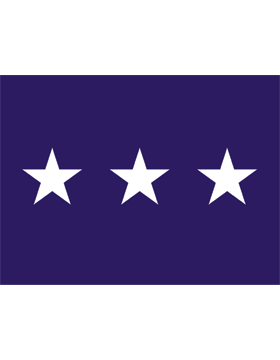 USAF Lieutenant General Flag Header and Grommet 3 Star