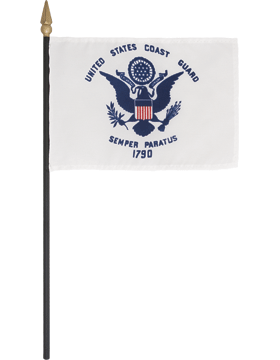 Mini Flag (F-MB05/P) U.S. Coast Guard 4in x 6in without Fringe