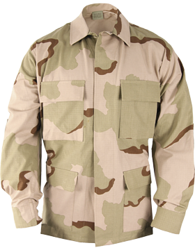 BDU Coat 3 Color Desert Camo 4-Pocket 50Nyl/50Ctn F5454