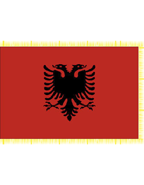 Indoor Flag Albania (2) 3'x5'  With Fringe