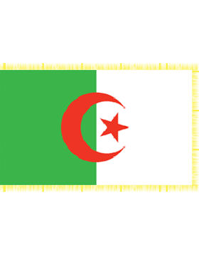 Indoor Flag Algeria (2) 3'x5'  With Fringe