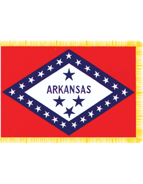 Arkansas State Flag Indoor Pole Hem with Fringe