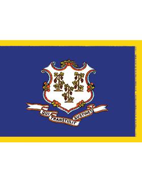 Connecticut State Flag Indoor Pole Hem with Fringe