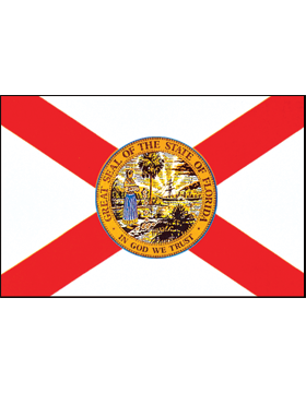 Florida State Flag Indoor Pole Hem Plain
