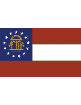 Georgia State Flag Indoor Pole Hem Plain
