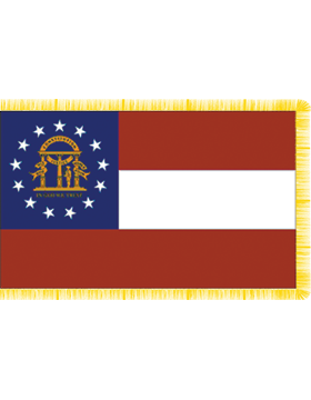 Georgia State Flag Indoor Pole Hem with Fringe