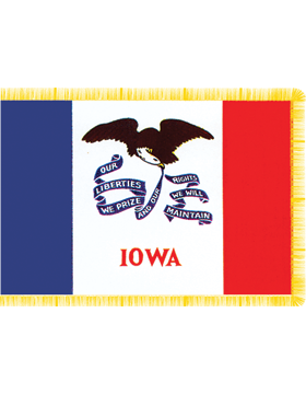 Iowa State Flag Indoor Pole Hem with Fringe