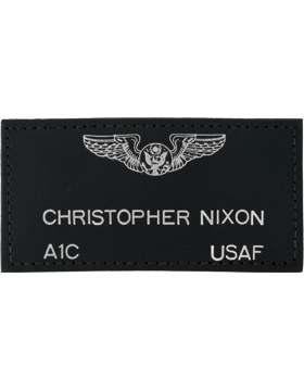 Black Leather Flight Tag with Fastener (Badge, Name, Rank, Branch)