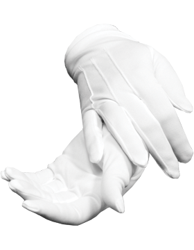 White Polyester Stretch Gloves One Size