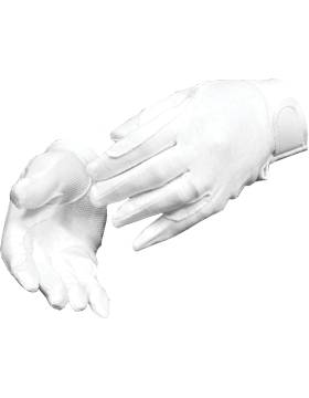 White Deluxe Sure Grip Gloves with Fastener