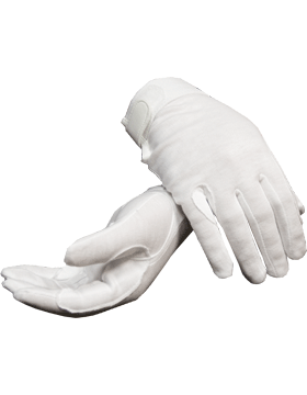 White Deluxe Cotton Gloves with Fastener (Military)