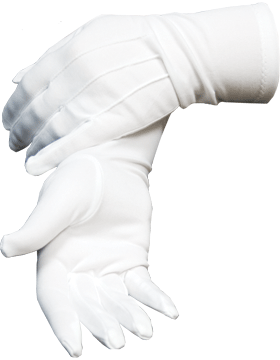 White Long Wristed Polyester Stretch Gloves One Size