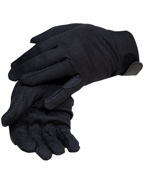 Black Deluxe Sure Grip Gloves with Fastener