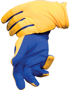 Flash Gloves (G-303A) Gold with Royal Blue Palm