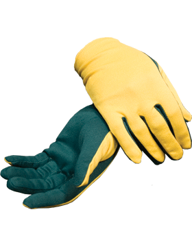 Flash Gloves (G-303J) Gold with Forest Green Palm