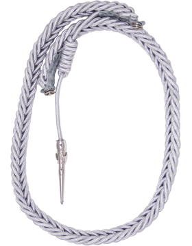 (HG-A203A) USAF Officer Honor Guard Aiguillette Silver Aluminum Open Loop Cord