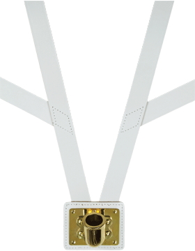Leather Flag Carrier White with Gold Cup
