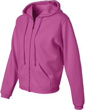Pigment Dyed Full-Zip Hooded Sweatshirt 1598 Raspberry
