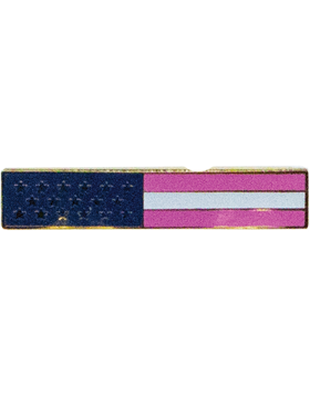 U.S. Flag Lapel Pin, Breast Cancer Awareness, Enameled and Plated 2 Clutch