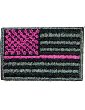 U.S. Flag with Pink Stripe Patch, Iron on