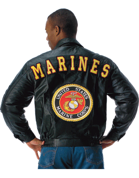 Marines Leather Jacket w/ Logo Black 7477