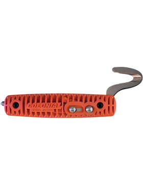 KNF-CKC-505 RESCUE ORANGE-SERRATED BLADE-CLIP UTILITY CLAM SHELL