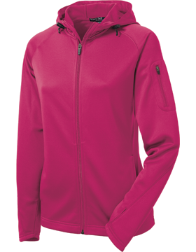 Sport Tek Ladies Tech Fleece Full-Zip Hooded Jacket L248 Pink Raspberry