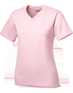 Sport Tek Dri Mesh Ladies V-Neck T-Shirt L468V Pink
