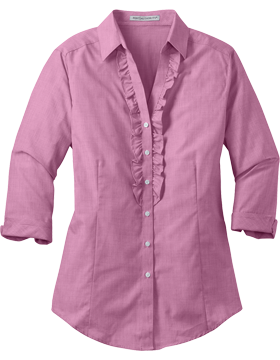 Port Authority Ladies Crosshatch Ruffle Easy Care Shirt L644 Pink Orchid