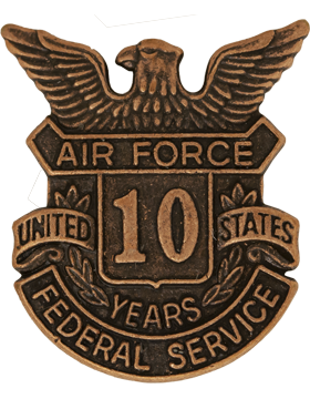 USAF Length of Service Button 10 Years Lapel Pin