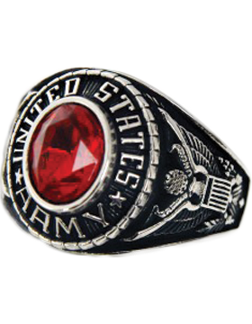 Ladies US Army Ring Style 72 Rhodium Silver