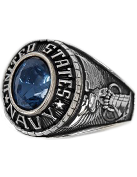 Ladies US Navy Ring Style 72 Rhodium Silver