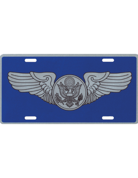 License Plate, Silver, USAF Enlisted Aircrew Wings on Blue