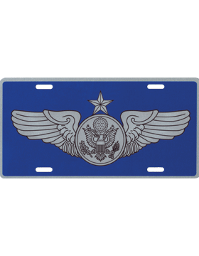 License Plate, Silver, USAF Sr. Enlisted Aircrew on Blue