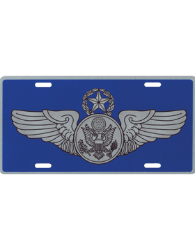 License Plate, Silver, USAF Chief Enl Aircrew on Blue